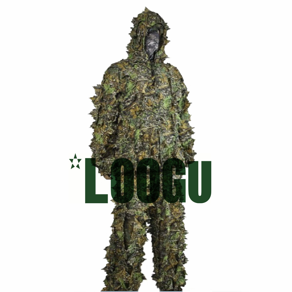 LOOGU Camo Suits Ghillie Suit 3D Leaves Woodland Camouflage Clothing Kit Cloak Jungle Hunting Military Sniper clothes Pants drawstring spliced camo jogger pants