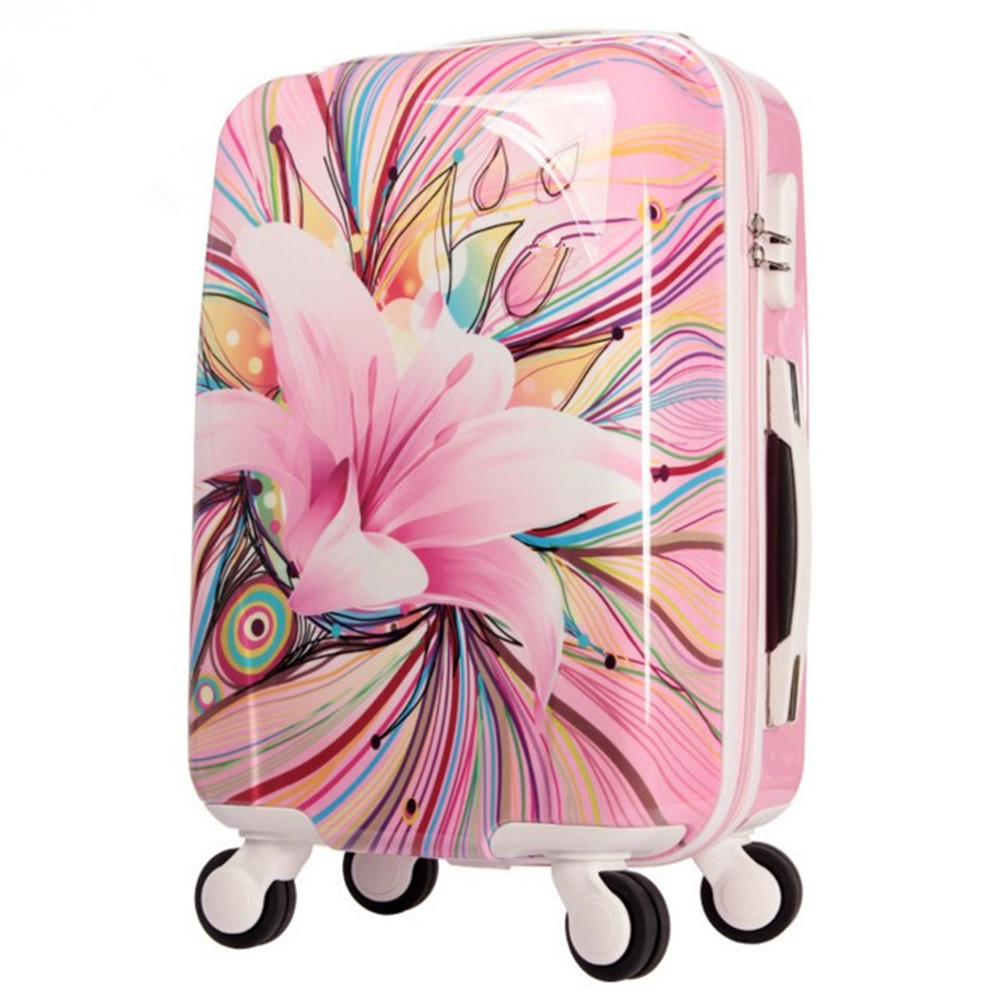 Womens Hard Shell Luggage Girls Pink lily Trolley case Valise Rolling Luggages Expandable Lightweight Suitcase 20 Inch TSA Lock vintage suitcase 20 26 pu leather travel suitcase scratch resistant rolling luggage bags suitcase with tsa lock