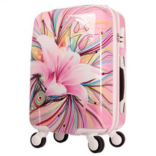 Womens Hard Shell Luggage Girls Pink lily Trolley case Valise Rolling Luggages Expandable Lightweight Suitcase 20