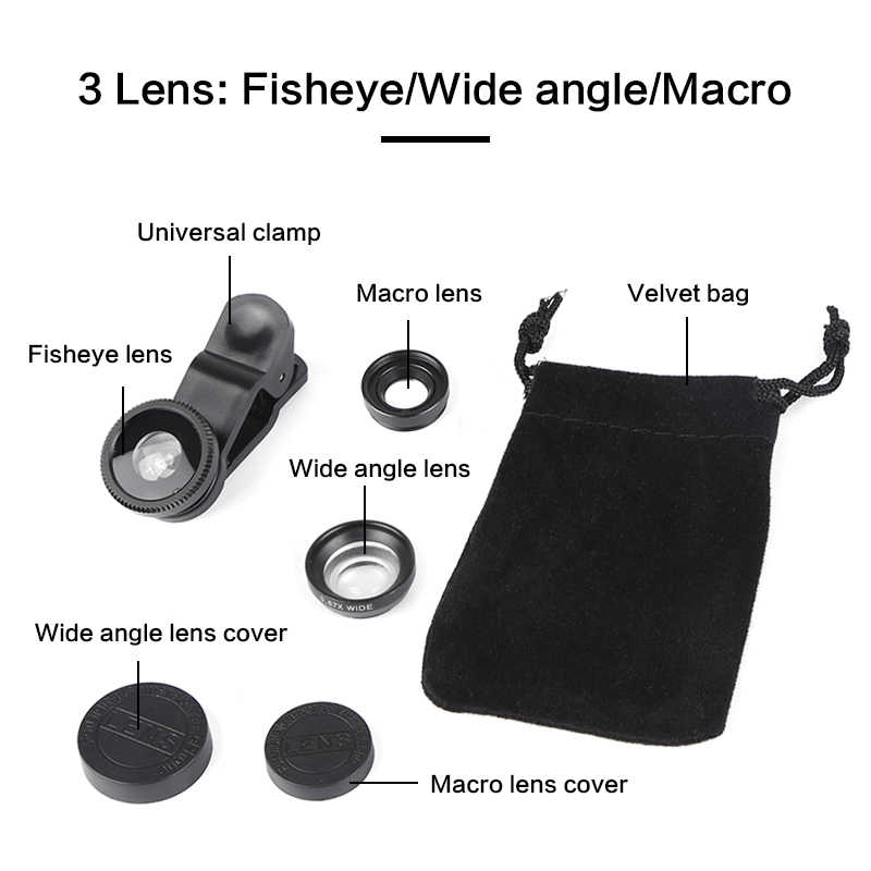 Phổ 3 In1 Góc Rộng Macro Fisheye Ống Kính Máy Ảnh Điện Thoại Di Động Ống Kính Fish Eye Lentes Cho iPhone XR Điện Thoại Thông Minh Kính Hiển Vi