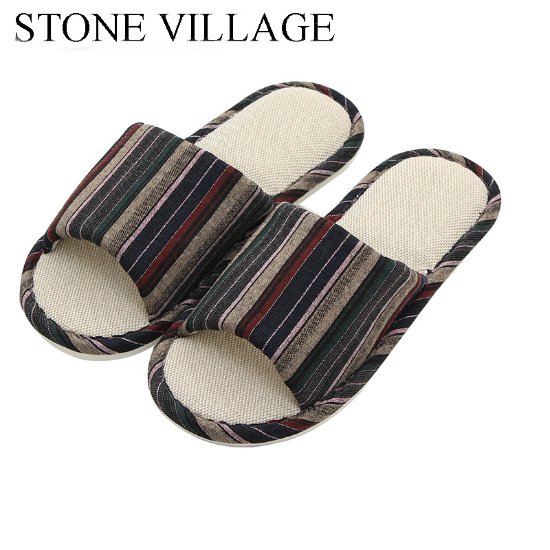STONE VILLAGE large size 36-45 Summer Striped Mute Flax Women Slippers shoes  Indoor Floor Home Slippers Shoes Drop Shipping
