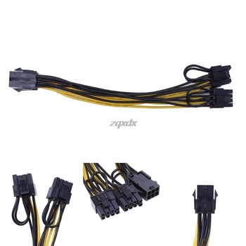 PCI-E PCI Express 6Pin Female to Dual Double 2-Port 8Pin ( 6+2Pin ) Male F/M Adapter GPU Video Card Power Cable 18AWG 20cm image