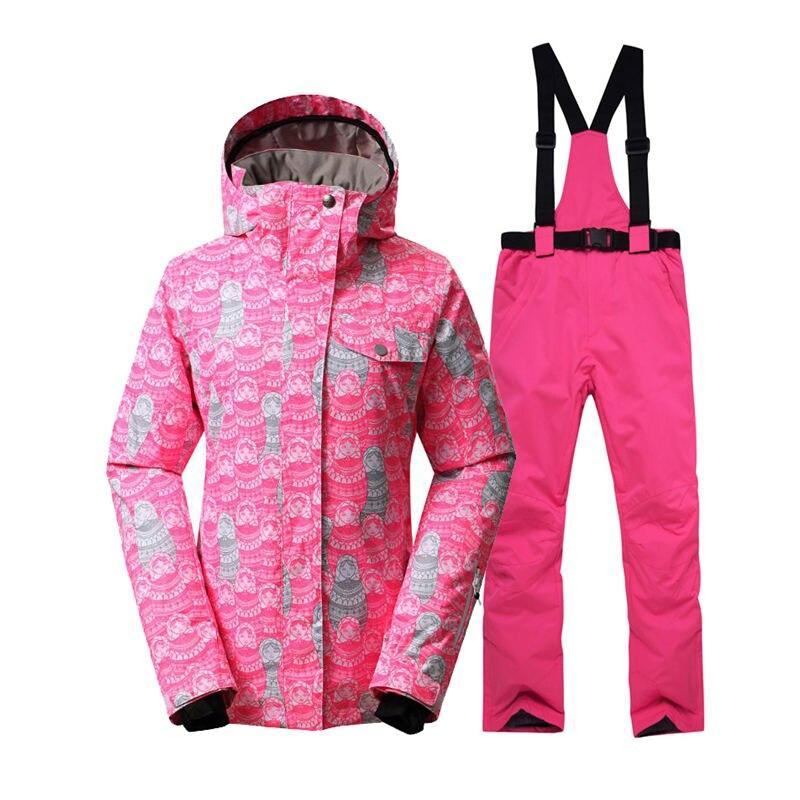 Femmes combinaison de neige ensembles sports de plein air snowboard vêtements 10 K coupe-vent imperméable vêtements d'hiver vestes de Ski + jarretelle pantalon de neige
