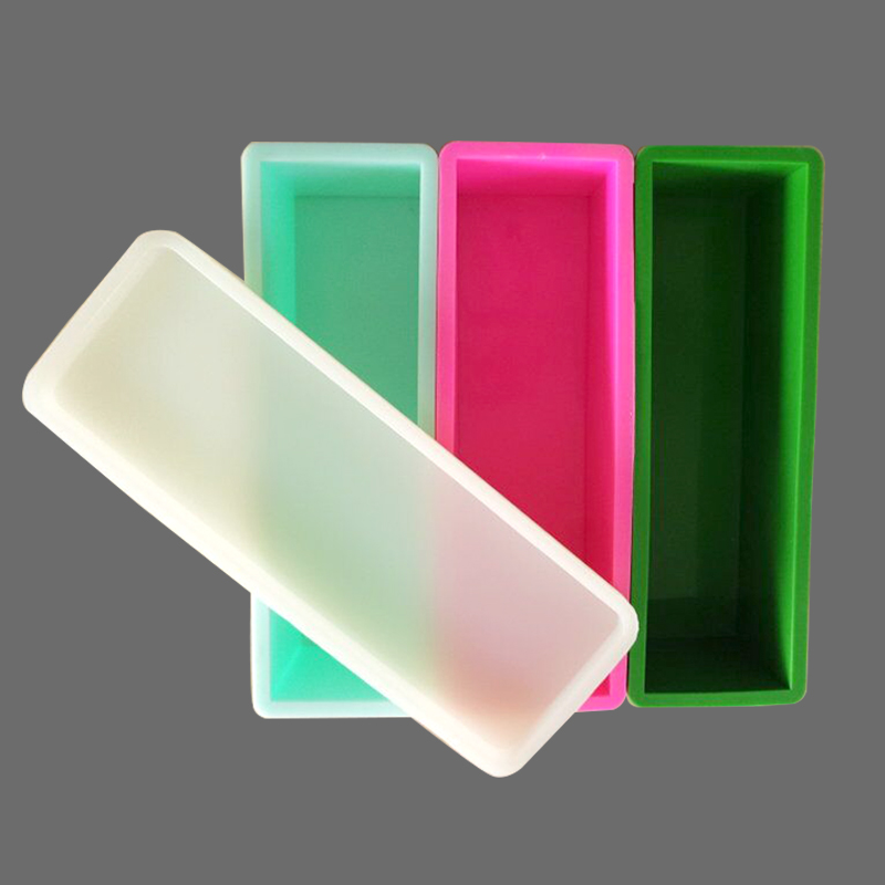 1kg Rectangle Loaf Soap With Cover Silica Gel Toast Baking Mold Rectangle Soap Molds Bathroom Bar Loaf Silicone Molds Hard Silic