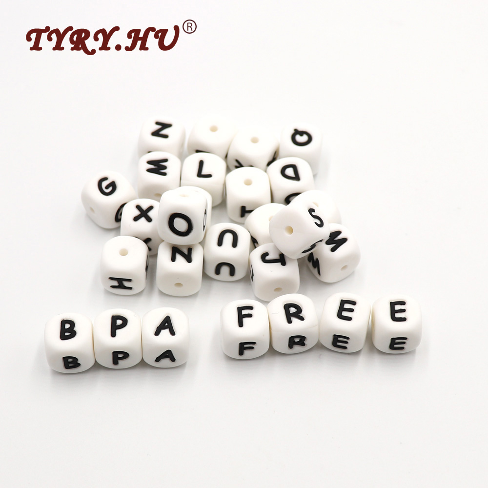 TYRY.HU BPA Free 600Pcs/lot Silicone Letter Beads Food Grade Baby Teething Chewable Alphabet Teether For Baby Mom Jewelry Making