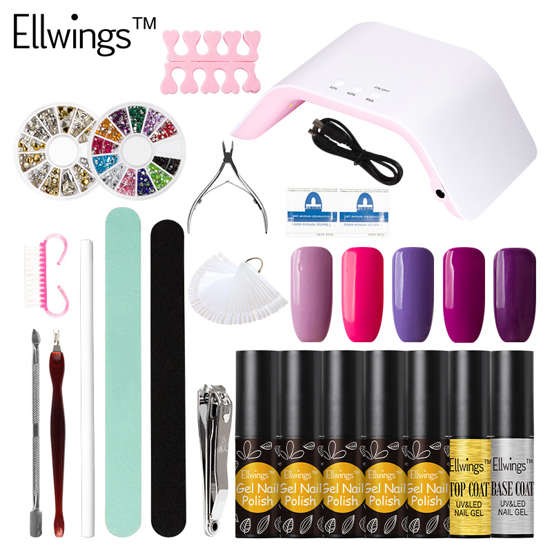 Ellwings 24W LED Nail Lamp Dryer Choose 5 Color Gel Nail Polish Nail Tools Manicure Kit Nail Gel Varnish Set Free Shiping free shipping new 2017 hot 13 single pure color series classic collection manicure nail polish strips nail wraps full nail sheet