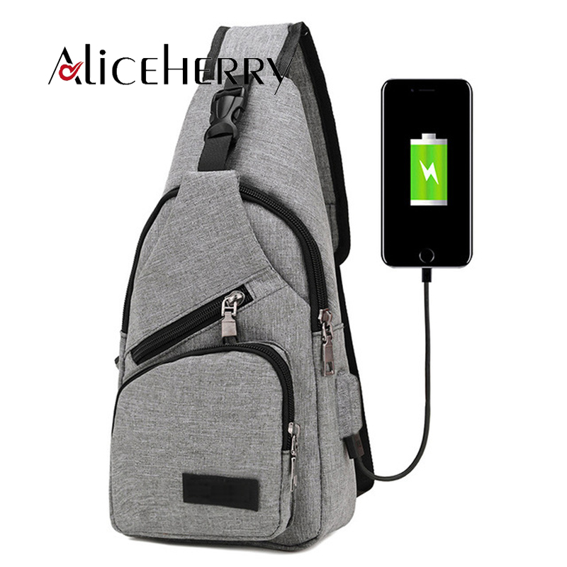New brand design Oxford Men Chest packs USB Charging casual travel shoulder bags