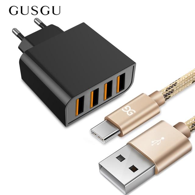 GUSGU אוניברסלי USB מטען 4 יציאות עבור טלפון נייד מהיר נסיעות מטען קיר 5 v עבור iPhone סמסונג Xiaomi iPad tablet