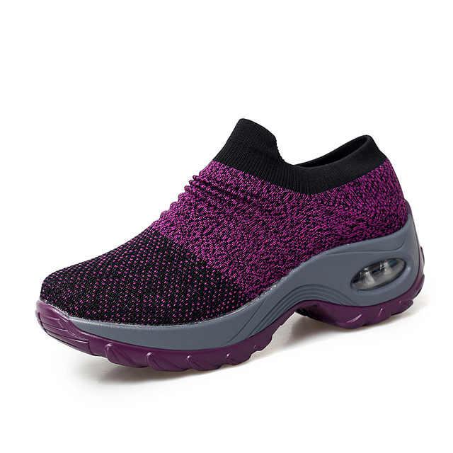 bda3b38ee716 2019 Spring Autumn Women Sneakers Shoes Flat Slip on Platform Running Shoes  For Women Breathable Mesh Socks