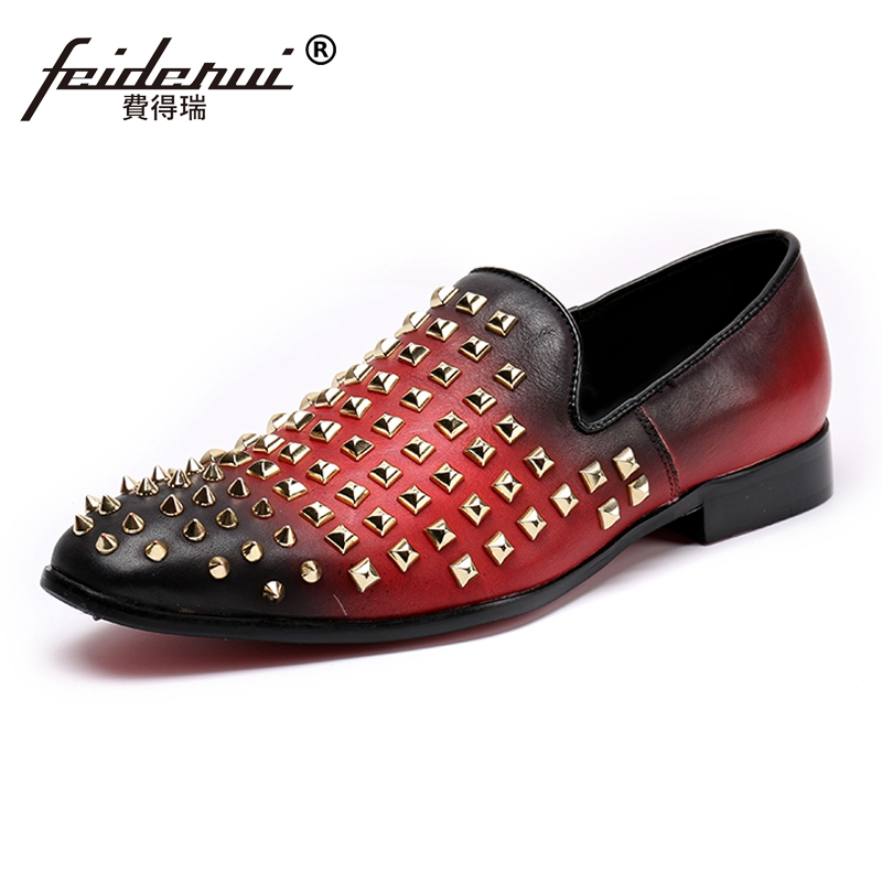 Plus Size Red Color Round Toe Slip on Man Moccasin Loafers Genuine Leather Studded Mens Comfortable Rocker Casual Shoes SL149Plus Size Red Color Round Toe Slip on Man Moccasin Loafers Genuine Leather Studded Mens Comfortable Rocker Casual Shoes SL149