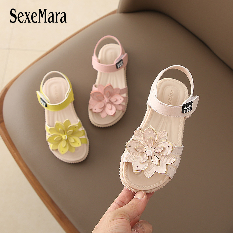 Baby Girl Children Leather Sandals New Sandals Kids Summer Girls Shoes Flower Child Sandals White&Yellow&Pink Shoes Girls C05221