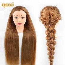Qoxi профессиональной подготовки головок с длинные толстые волосы практика Парикмахерские Манекен Куклы для укладки волос maniqui тет для продажи