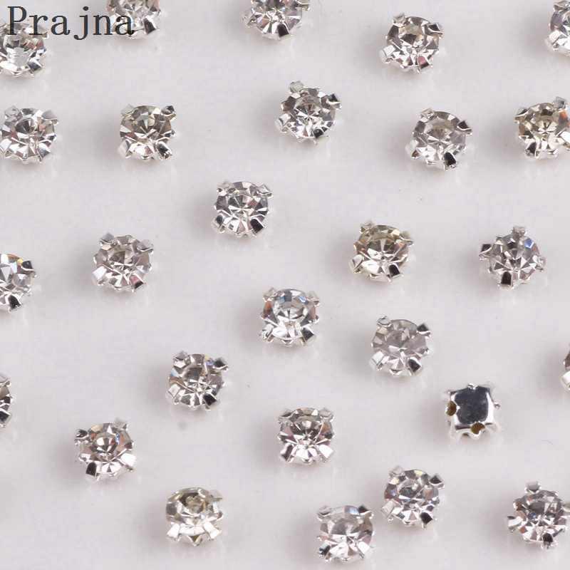 Prajna Crystal Beads Rhinestones Claw Sew On Rhinestones Silvery Loose Flatback  Rhinestone Craft Clothes DIY Accessories 915a21c93219