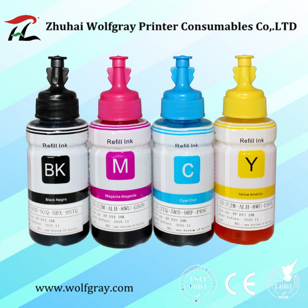 Compatible dye based refill ink kit for <font><b>Epson</b></font> <font><b>printer</b></font> L100 L110 L120 L132 <font><b>L200</b></font> L210 L222 L300 L312 L355 L350 L362 L366 L550 image