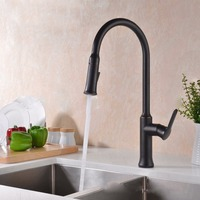 Free Shipping New Style Black Single Handle Kitchen Faucet Mixer Pull Out Kitchen Tap Single Hole
