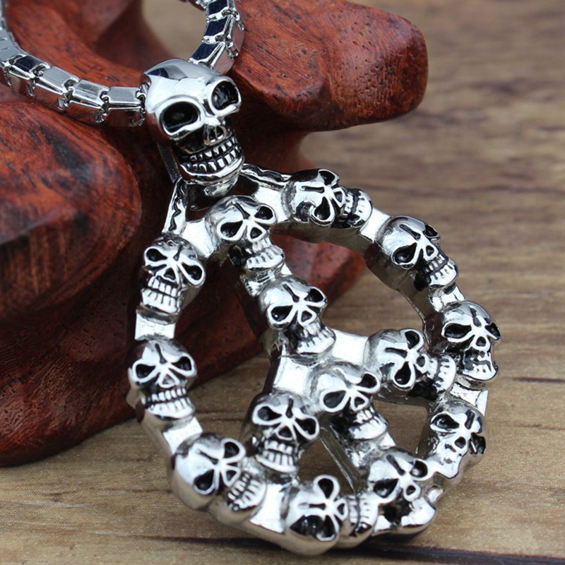 Punk Stainless Steel Jewelry with Pendant Men Stainless Steel Chain Skull Cross Pendant Necklace Chain