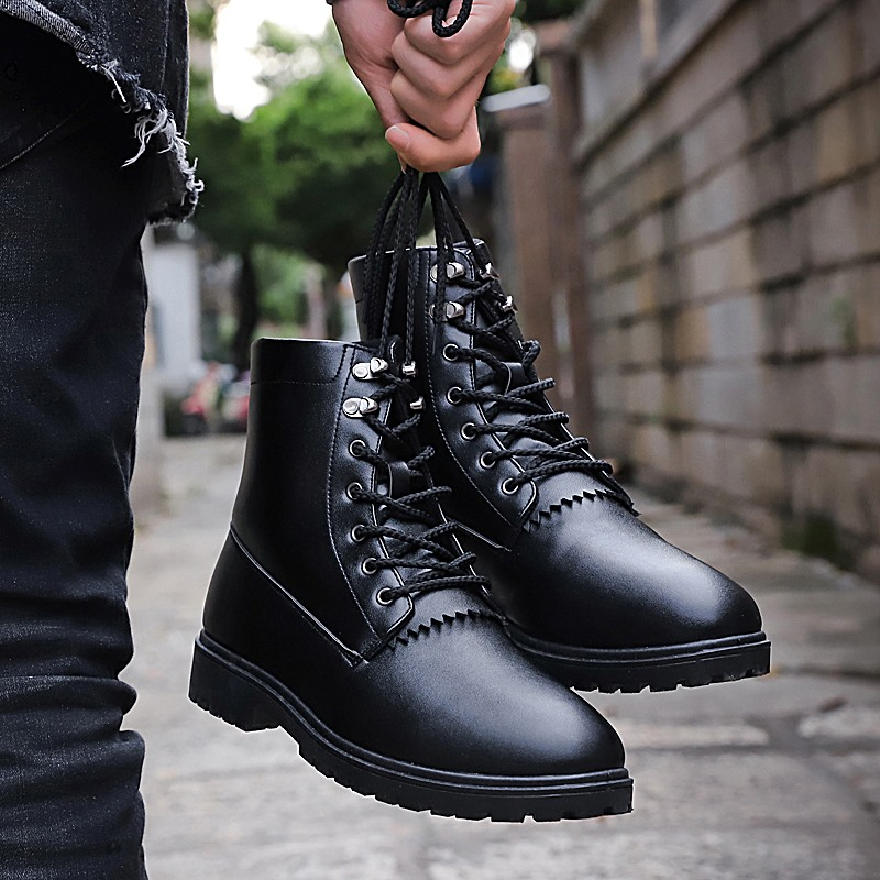 Autumn Winter Men Boots Black Brown Man Martens Boots Comfortable Fashion Male Boots Rubber Bottom Mens Casual Footwear marmot midweight bottom cocona man black