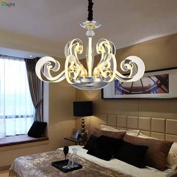 Moderno cromo metal LED Candelabros Iluminación acrílico Sala LED ...
