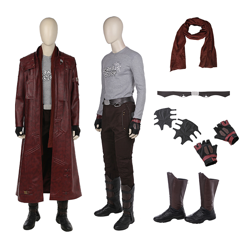High Quality Star Lord Costume Peter Quill Guardians of the Galaxy 2 Cosplay Costume Halloween Long Leather Jacket Dress