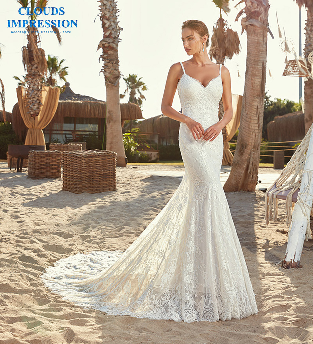 CLOUDS IMPRESSION Romantic Beach Mermaid Wedding Dress 2019 Lace Flowy Tulle Summer Dresses Bridal Gowns Vestige