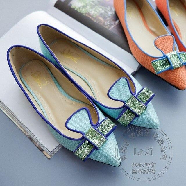 Women Flats Butterfly Artwork Ballerina Soft Leather Shoes Women Orange Pu Shoes Sky Blue Neon Solid Color