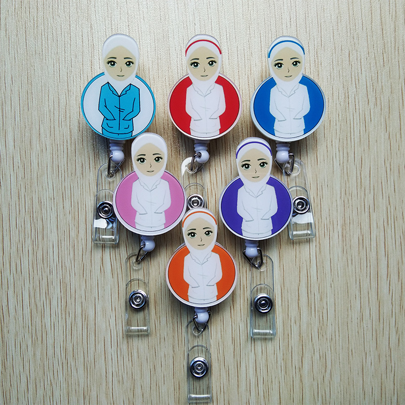 6Pcs/lot Acrylic Cartoon nurse Retractable Badge Reel ID Name Tag Card Badge Holder Reels 2018 New doctor nurse supplies купить