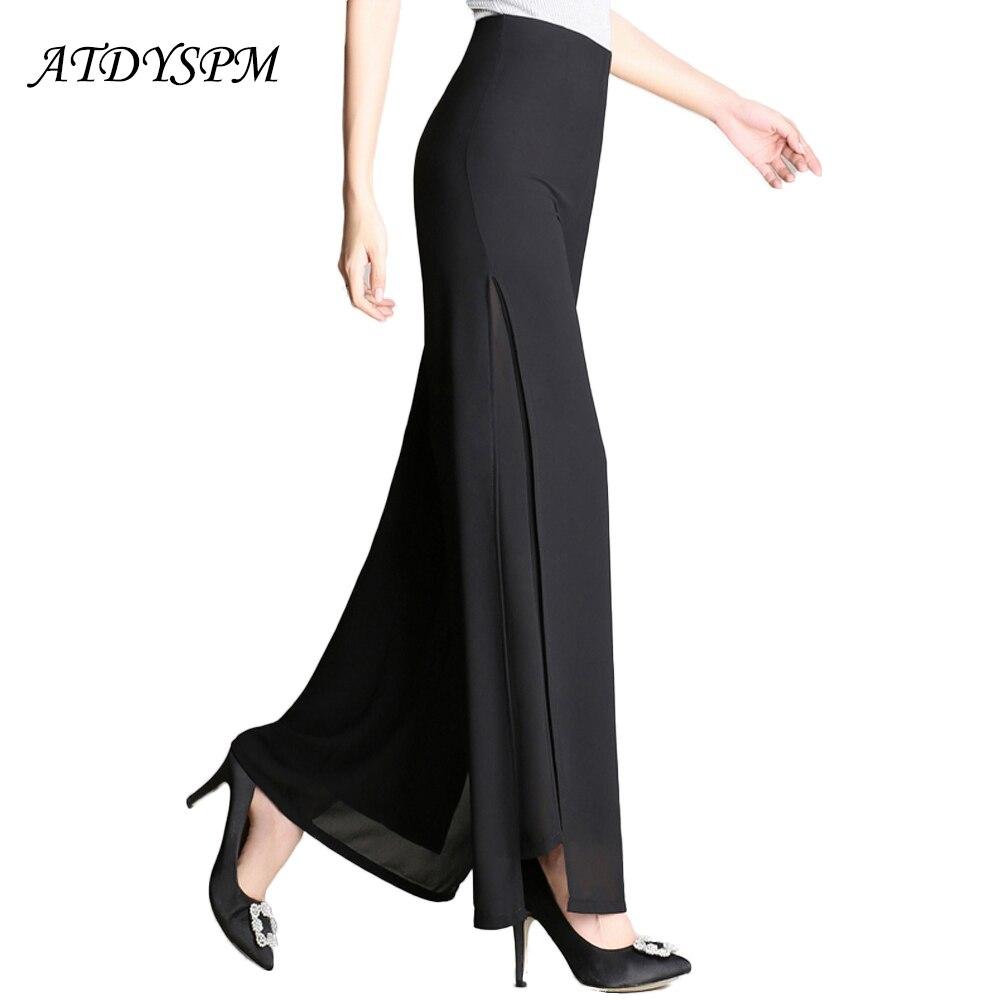 Plus Size Wide Leg Pants Women Summer Chiffon Pants Trousers Female High Waist Slit Casual Pants Elegant Street Wear Dance Pants