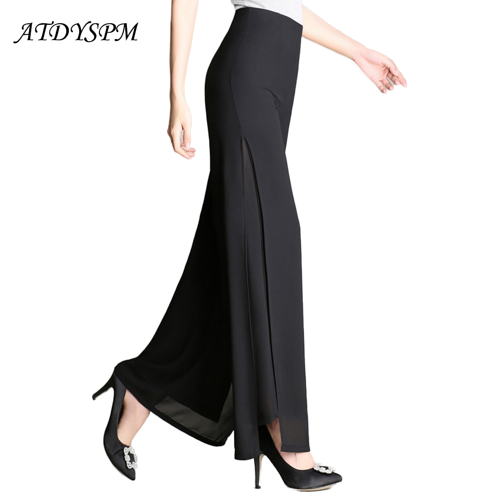Plus Size Wide Leg Pants Women Summer Chiffon Pants Trousers Female High Waist Slit Casual Pants Elegant Street Wear Dance Pants