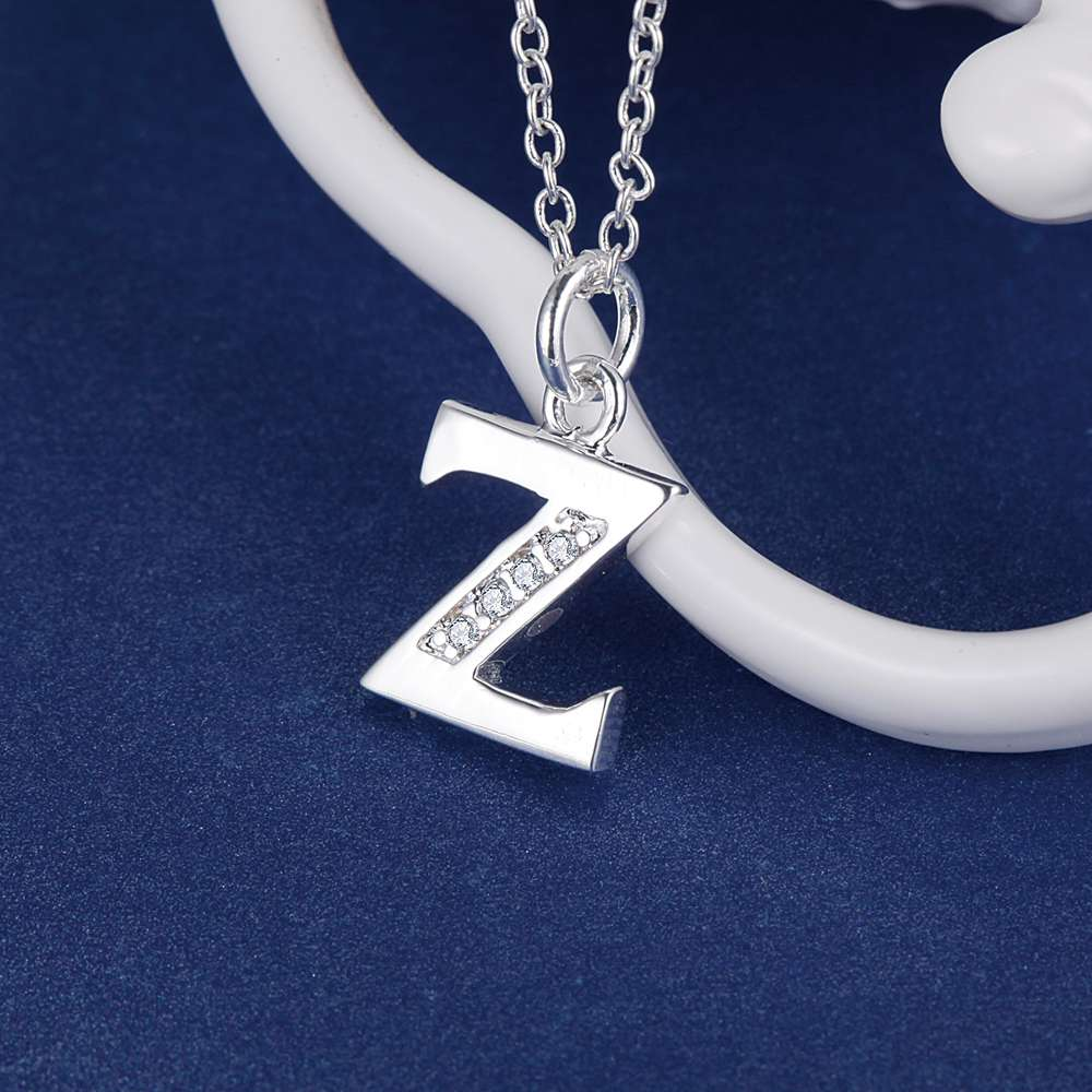 Letter Z Necklace ALP Letter Z bling zircon wholesale silver plated Necklace New Sale silver  necklaces & pendants /CHDSTVGK VIIESDFT-in Chain Necklaces from Jewelry &  Accessories ...