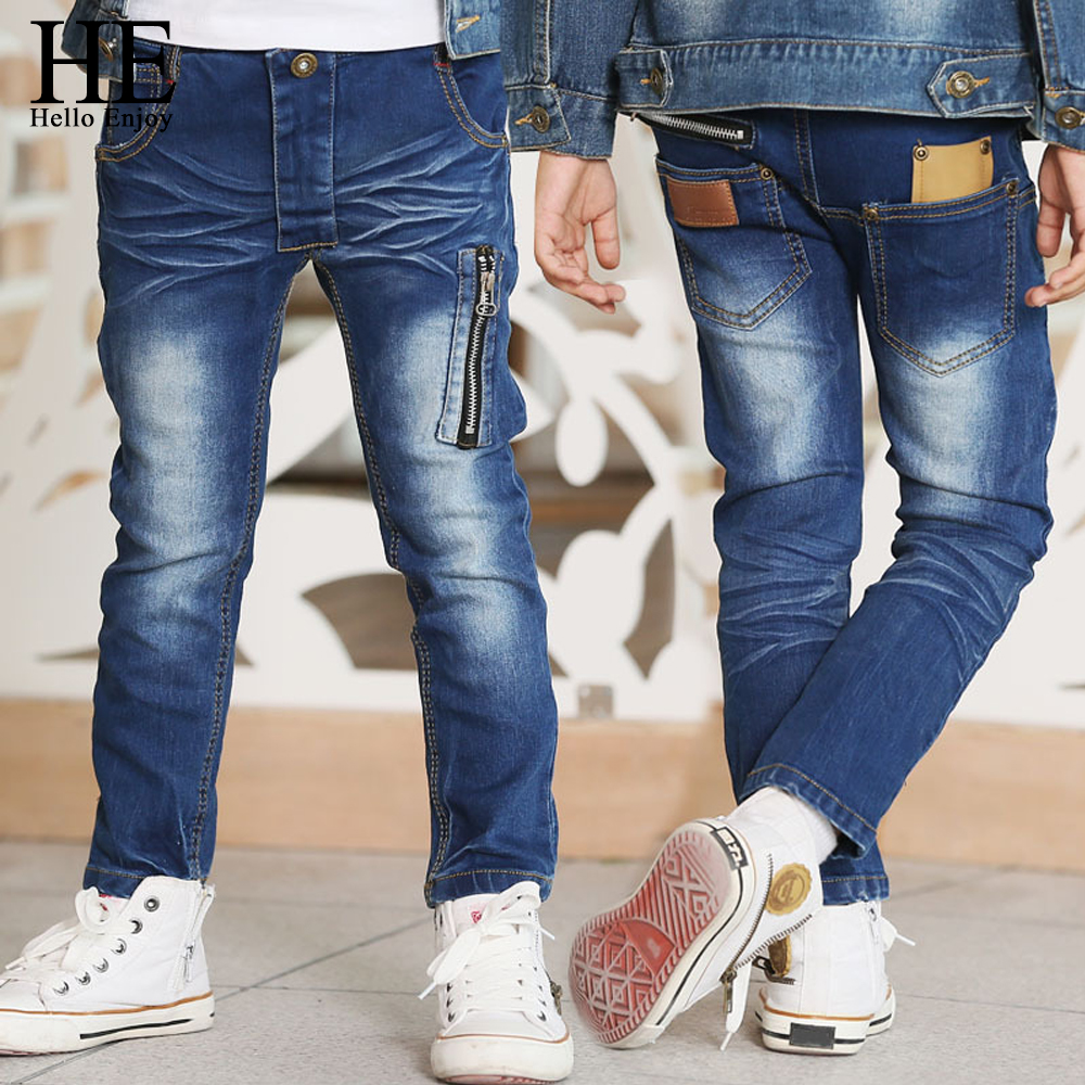 HE Hello Enjoy Kids Jeans For Boys Pants Zipper Skinny Jeans Spring Autumn Designer High Quality Clothes For Children Trousers top designer blue ripped jeans mens denim hole zipper biker jeans men slim skinny destroyed torn jean pants streetwear jeans