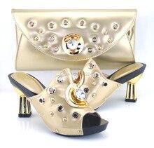 CH-22 GOLD neues angebot passenden schuhe und tasche mit strass, hochwertige schuhe und tasche set für dame