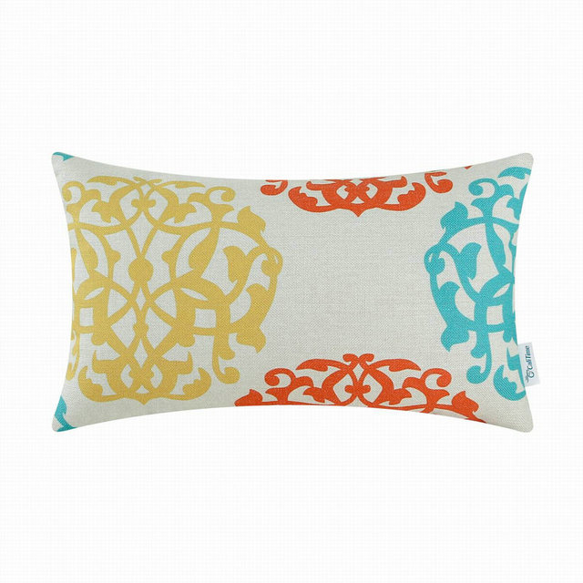 Calitime Decorative Pillows Shell Cushion Covers Home Sofa Car Fl Geometric Yellow Orange 12 X