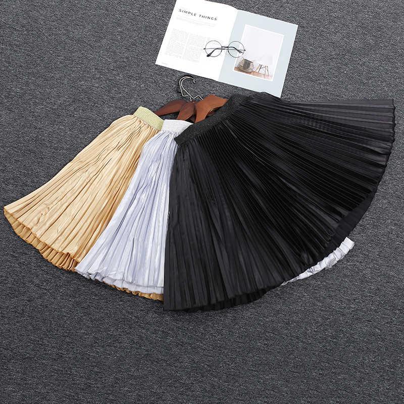 944a67c1b02 ... Women Chiffon Pleated Skirts Fashion Women s High Waist Tutu Pleated  Gold Color Big Swing Skirt Summer ...