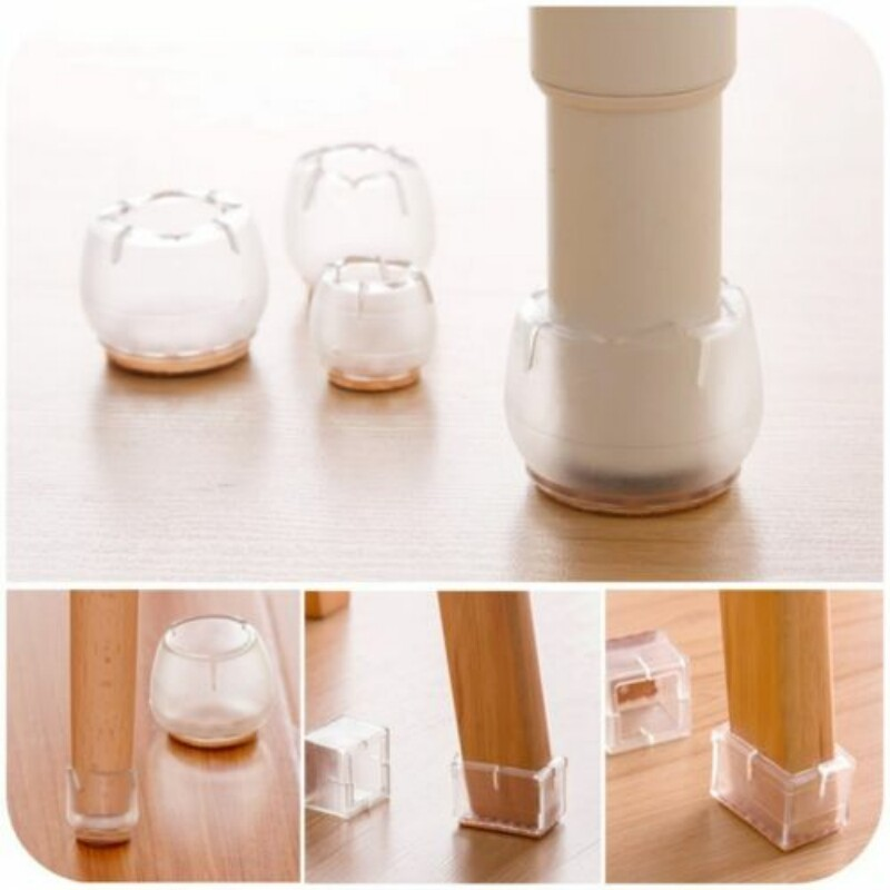 Whism 4pcs Silicone Feet Round Chair Leg Caps Square Furniture Transpa Table Covers Wood Legs Floor Protectors In From