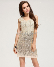 Summer New Fashion Women Party Dresses Handed Sequins Woman Club Mini Shining Dress Slim Sleeveless Tank
