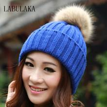 Winter Hats for Women Brand 2017 Beanies Knitted Cap Crochet Hat Rabbit Fur Pompons Ear Protect