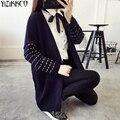 Las mujeres Chaqueta de Punto 2017 Otoño Moda de Punto Bolsillos Cardigans Sólidos de Alta Calidad Tire Femme Sweter Mujer SZQ157