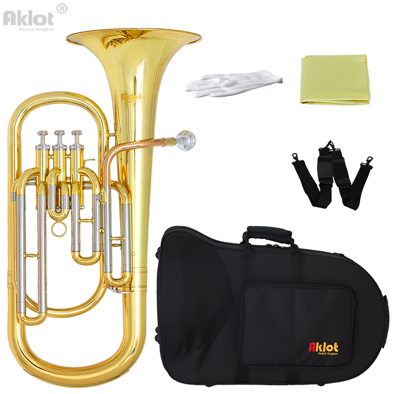 Aklot Bb Baritone Horn Cupronickel Tuning Pipe Gold Brass Leadpipe Silver Plated Mouthpiece Gold Lacquered Brass Body denis wick dw5880b sm6u ultra steven mead baritone mouthpiece