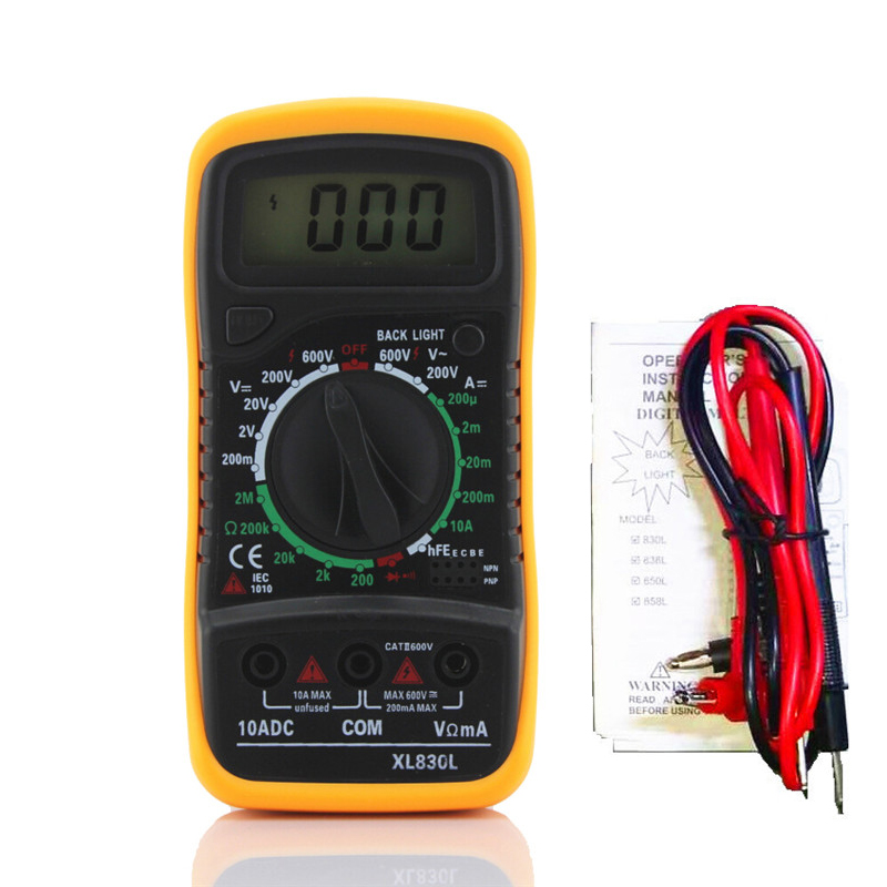 Urijk Portable Digital Multimeter Backlight AC/DC Ammeter Voltmeter Ohm Tester Meter XL830L Handheld LCD Multimetro