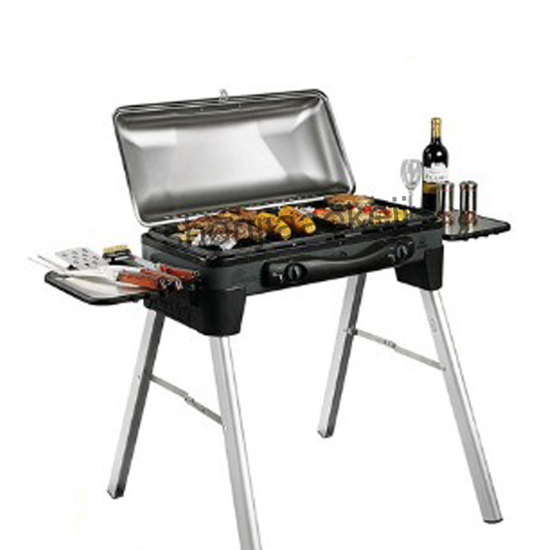 Gas barbecue grill Stainless steel outdoor portable bbq grill courtyard liquefied gas multi-function grill box 1PC portable barbecue grill with heart outdoor shape stainless steel grill folding bbq grill firewood stove outdoors household tool