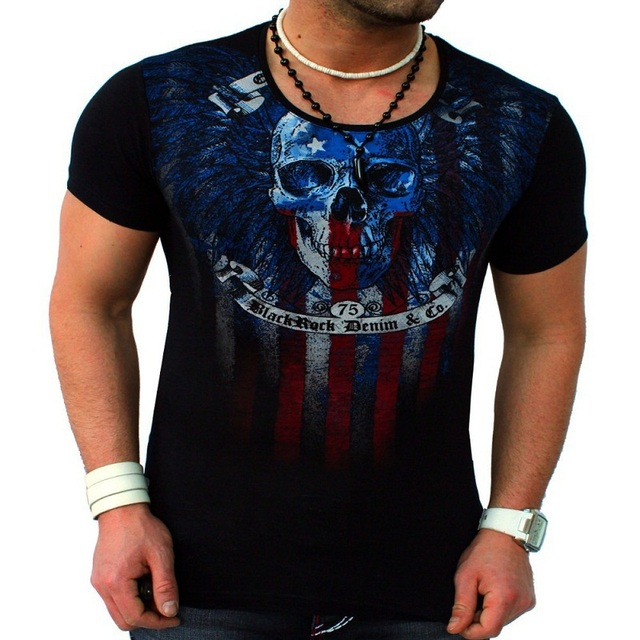 Fashion Skull Printed Casual Man's Slim Fit Short-Sleeve T Shirt