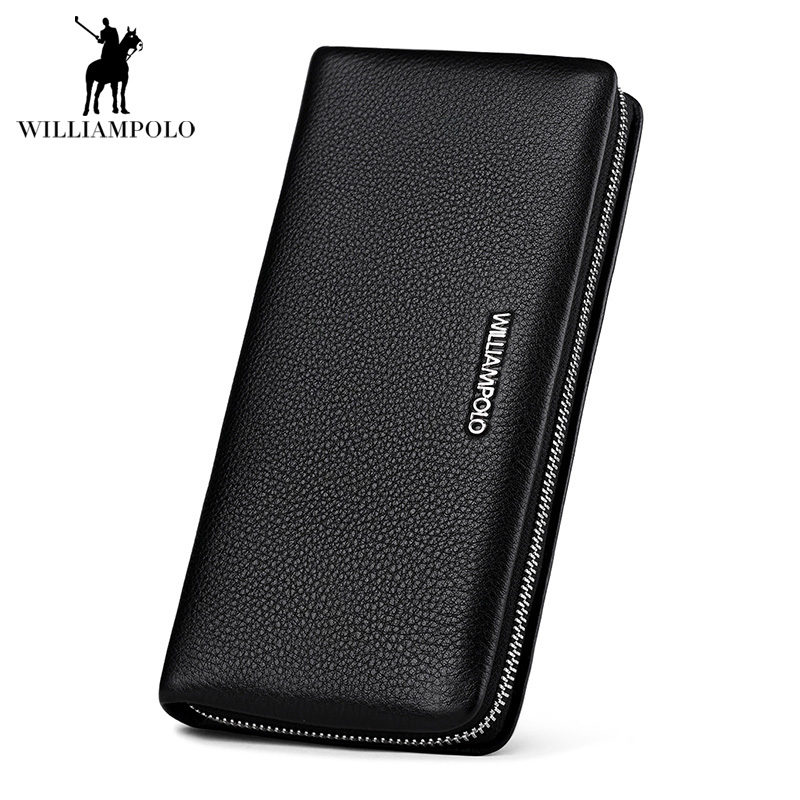 Soft Pure Genuine Leather Zipper Wallets Men Lychee pattern Italy Cow Leather Long Coin Purs Wallet Man Brand Design Card Holder sammons brand new design fashion genuine cow real leather men long zipper clutches cards phone holder wallet