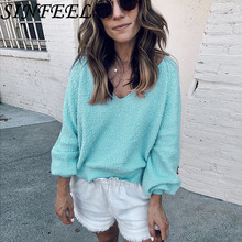 купить SINFEEL Off Shoulder V Neck Sweaters Women Autumn 2018 Loose Long Sleeve Pullovers Sexy Knitting Sweater Female Jumper Casual по цене 846.05 рублей