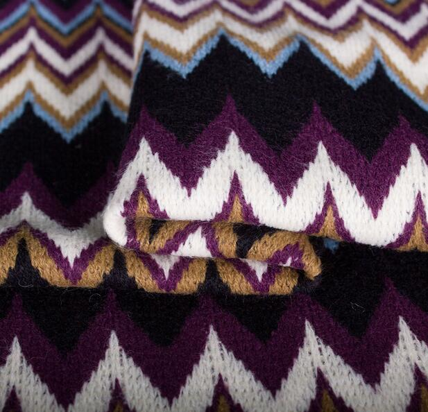 Retro Color Wavy Knitted Fabrics Retro Cardigan Sweater Dress Fabric