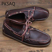 Spring Autumn Men Boat Shoes Handmade Driver's Shoes Men Fashion Lace-Up Leather Shoes Flat Casual Shoes genuine leather men casual shoes wool fur warm winter shoes for men flat lace up casual shoes men s flat with shoes fashion