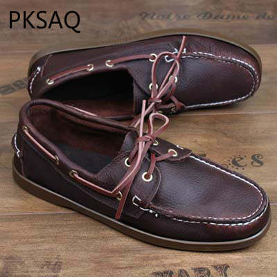 8054e8a417 US $30.83 53% OFF Spring Autumn Men Boat Shoes Handmade Driver's Shoes Men  Fashion Lace Up Leather Shoes Flat Casual Shoes-in Men's Casual Shoes from  ...