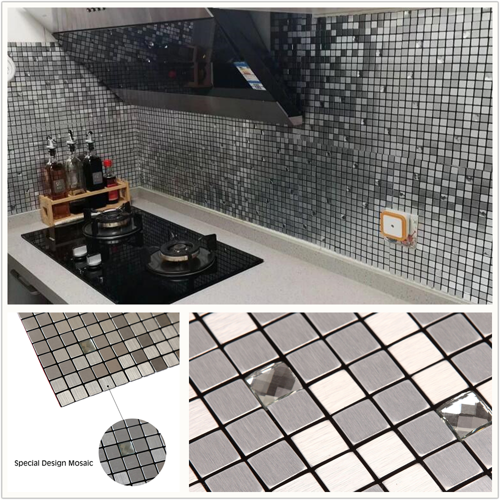 Us 34 79 13 Off Square Silver 3d Glass Mixed Self Adhesive Aluminum Metal Mosaic For Bathroom Shower Tiles Kitchen Backsplash Tiles Dropshipping In