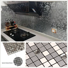 Square Silver 3D Glass Mixed Self-adhesive Aluminum Metal Mosaic for Bathroom Shower Tiles Kitchen Backsplash Tiles Dropshipping