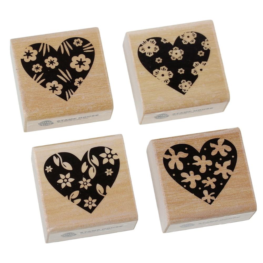 Wood Seal Stamper Square Shape Natural Black Heart Flower Flower Carved Stamp 40mm(1 5/8) x 40mm(1 5/8), 1 Set(4 PCs/Set) тарелка the hundred acre wood 8 5 bm1257