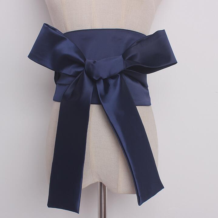 Women's Runway Fashion Wide Satin Big Bow Cummerbunds Female Vintage Dress Corsets Waistband Belts Decoration Wide Belt R896